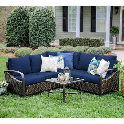 Trenton 4-Piece Wicker Outdoor Sectional Set with Navy Cushions
