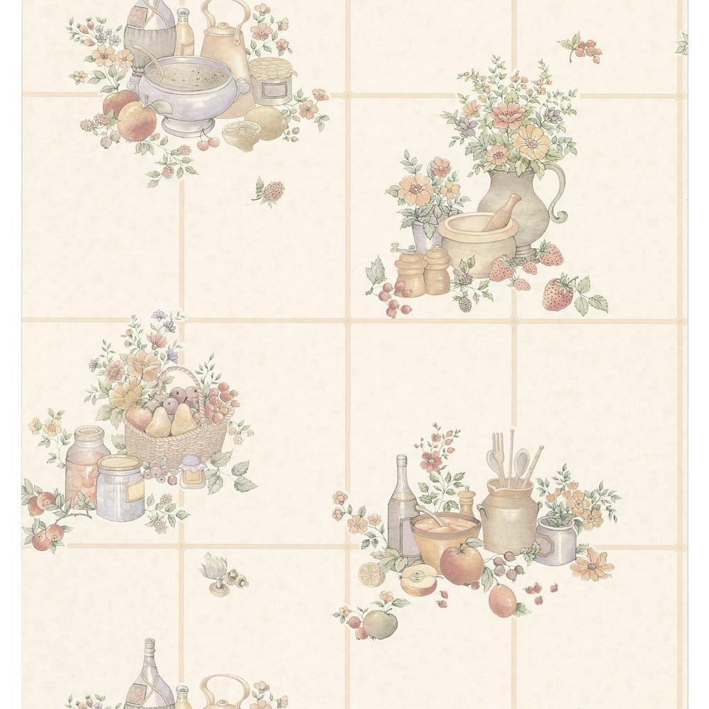 Kitchen and Bath Resource II Off-White Kitchen Tile Wallpaper Sample