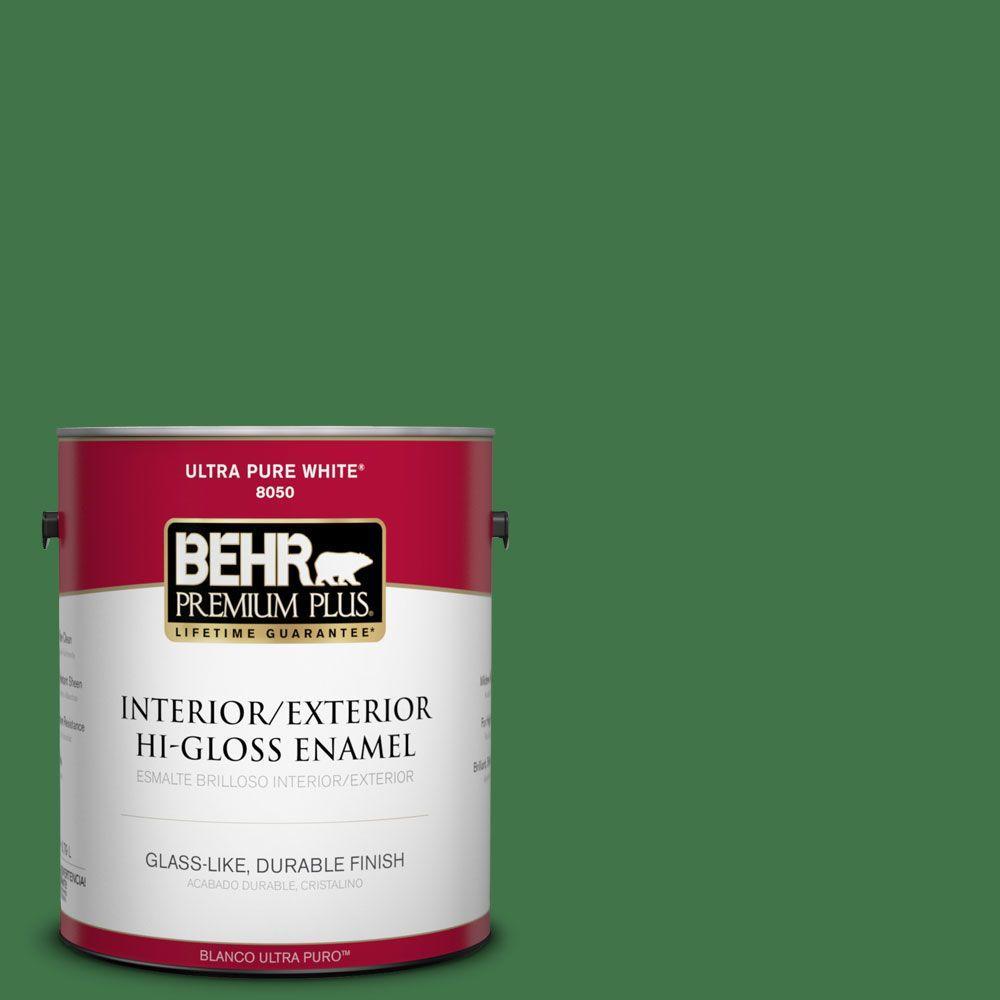 BEHR Premium Plus 1-gal. #P410-7 Grasslands Hi-Gloss Enamel Interior/Exterior Paint