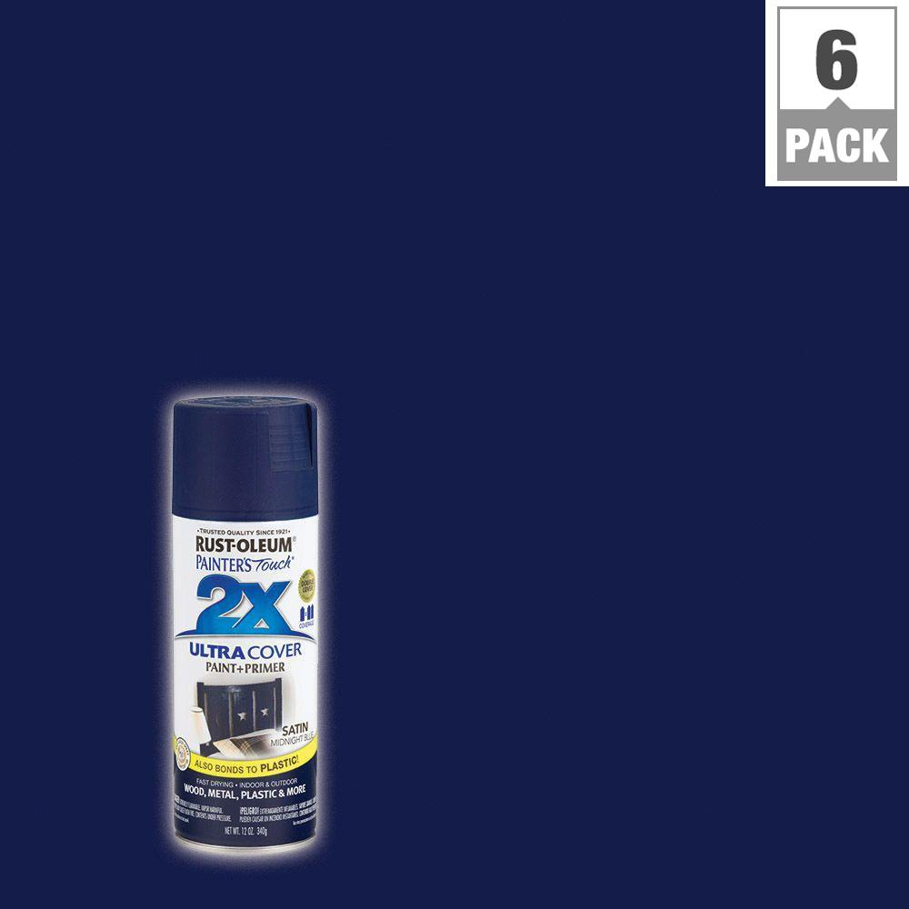 Rust-Oleum Painter's Touch 2X 12 oz. Midnight Blue Satin General Purpose Spray Paint (6-Pack)