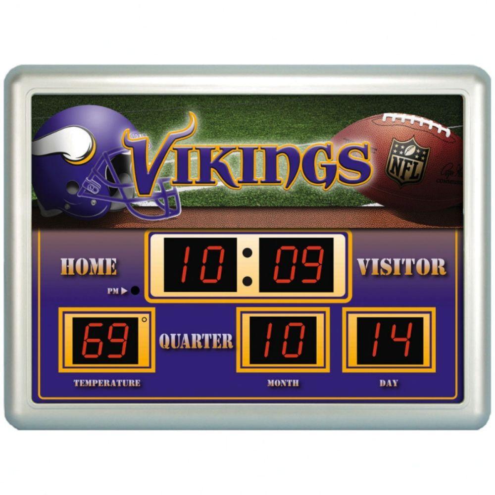 null Minnesota Vikings 14 in. x 19 in. Scoreboard Clock with Temperature