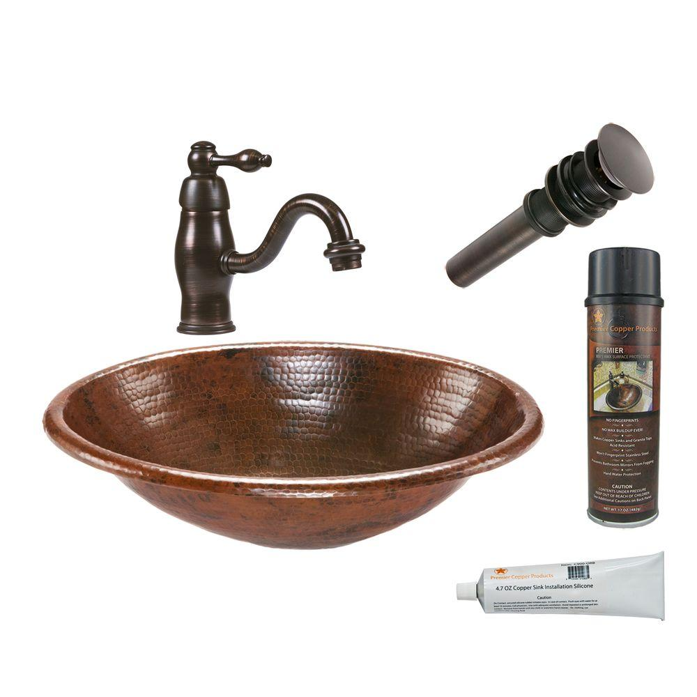 All-in-One Oval Self Rimming Hammered Copper Bathroom Sink in Oil Rubbed