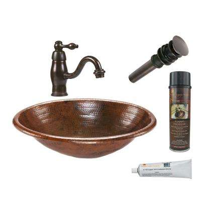 All-in-One Oval Self Rimming Hammered Copper Bathroom Sink in Oil Rubbed Bronze