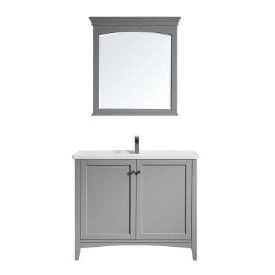 Asti 40 in. Bath Vanity in Grey with Ceramic Vanity Top in White with White Basin and Mirror