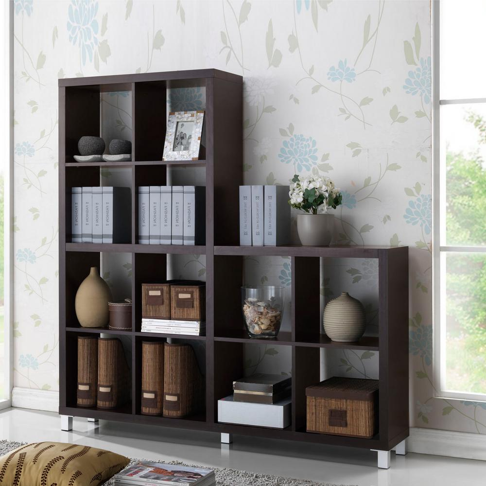 Hampton Bay Dark Brown Wood Open Bookcase-THD130419.1a.OF - The Home Depot