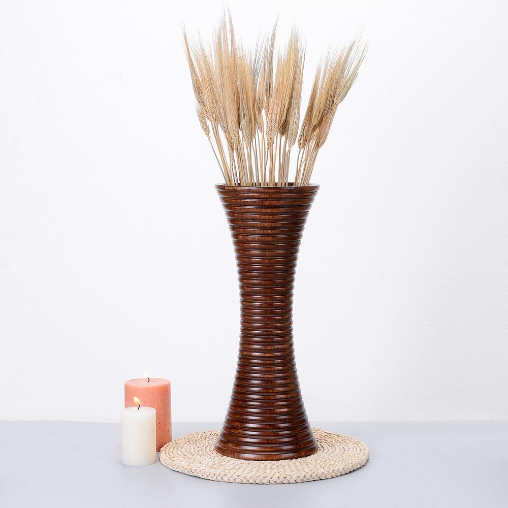 15 in. Handmade Decorative Mango Wood Trumpet Ripple Vase in Brown