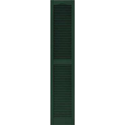 15 in. x 75 in. Louvered Vinyl Exterior Shutters Pair #122 Midnight Green