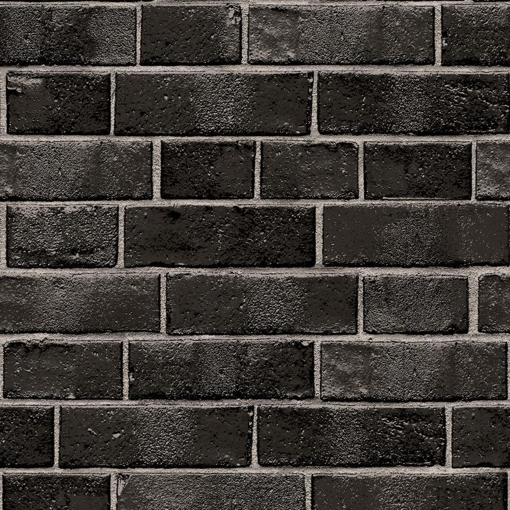 Tempaper Textured Brick Ebony Peel And Stick Wallpaper 28 Sq Ft Br10523 The Home Depot