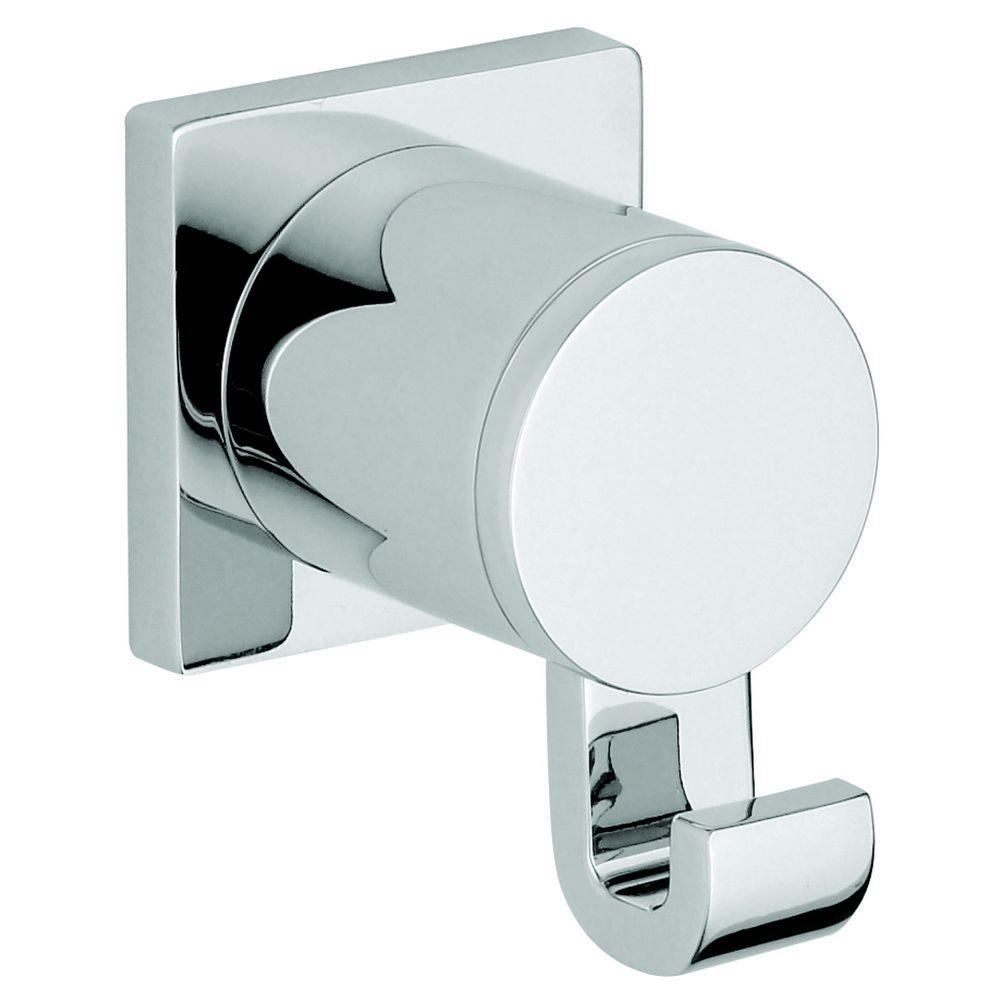 Moen 90 degree single robe hook in chrome yb8803ch the for Accessoires salle de bain home depot
