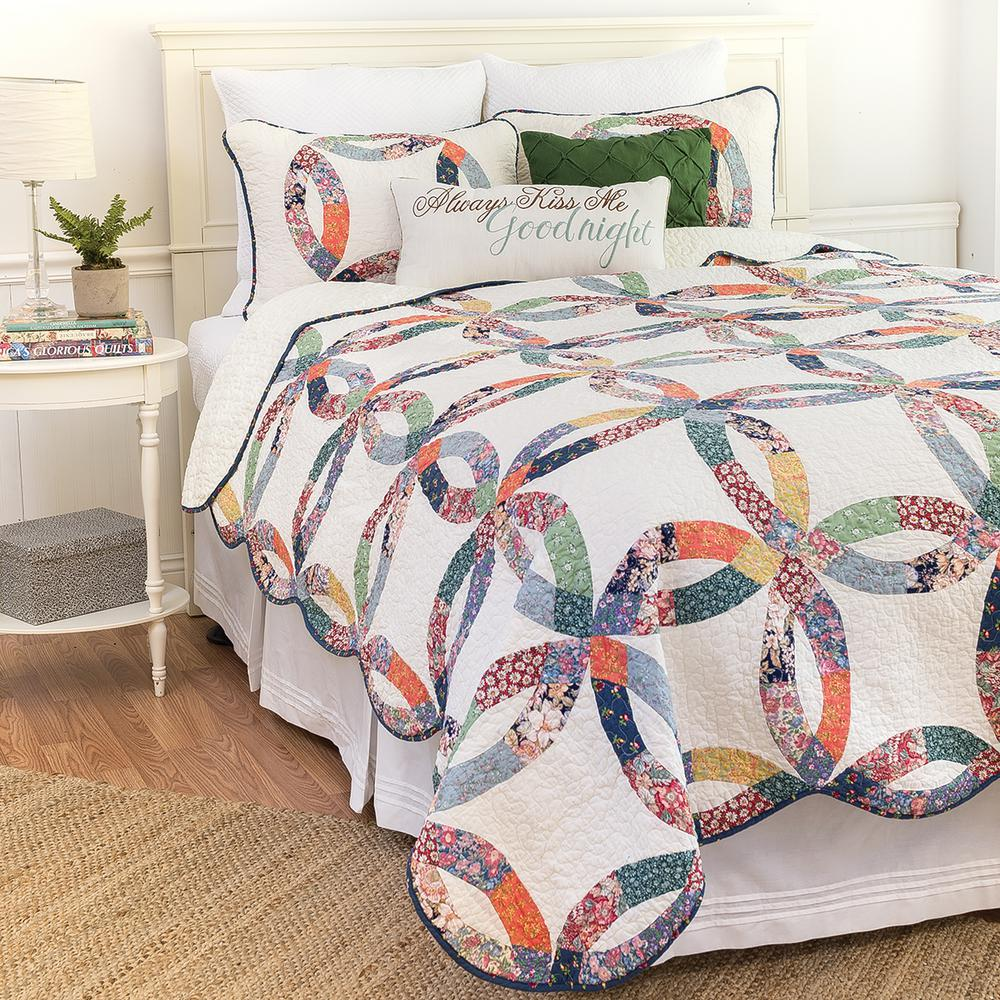 C & F Home Blue Heritage Wedding Ring F/Q Quilt Set-82113