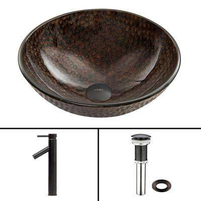 Glass Vessel Sink in Copper Shield and Dior Faucet Set in Antique Rubbed Bronze
