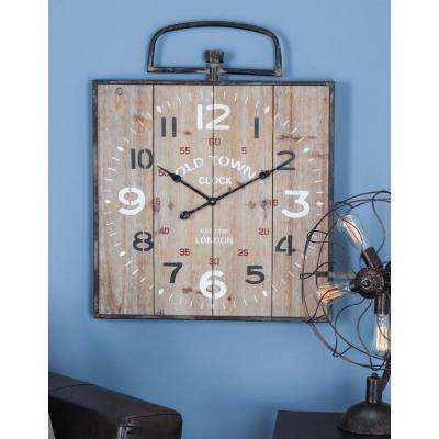 Rustic Square Station Wall Clock in Distressed Wood