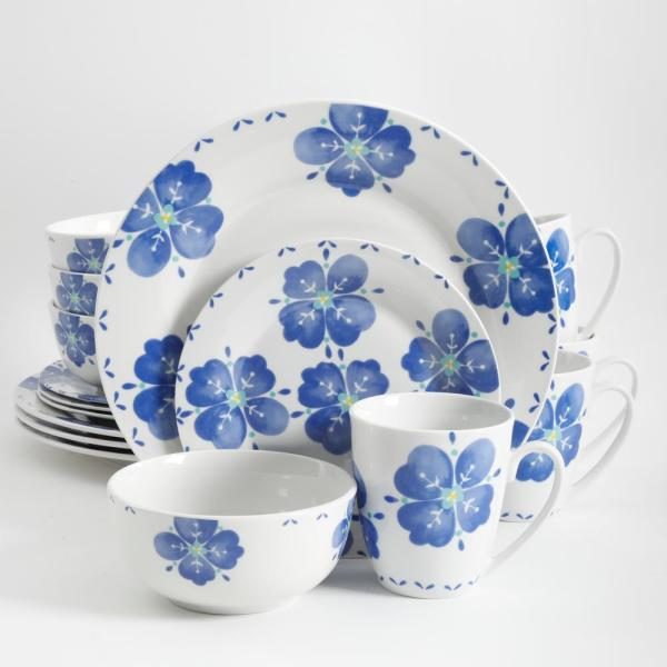 Gibson Home Classic Riviera 16-Piece Blue and White Decorated Dinnerware Set