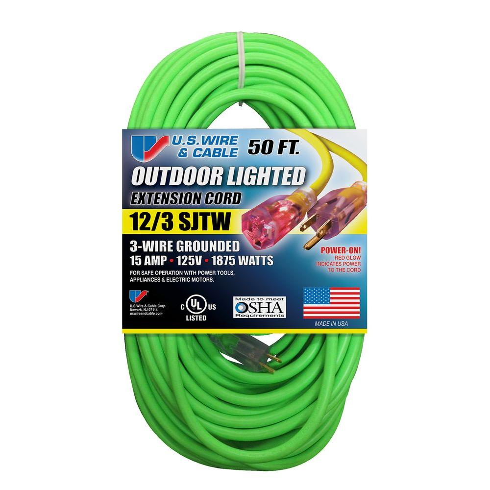 U.S. Wire & Cable 50 ft. 12/3 Fluorescent Lighted Extension Cord ...
