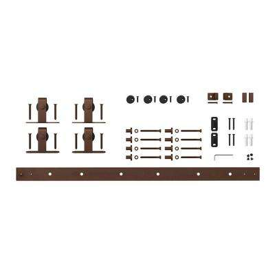 5 ft. Oil Rubbed Bronze Solid Steel Mini Sliding Rolling Barn Door Hardware Kit for Double Furniture Wood Doors