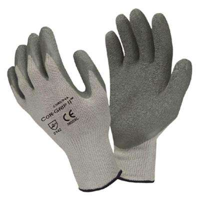 COR-GRIP Large Work Glove Gray Crinkle Latex Palm Gray Blended Shell