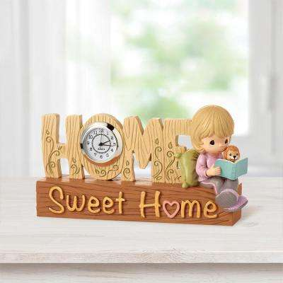 Tabletop Round Resin Home Sweet Home Clock Figurine