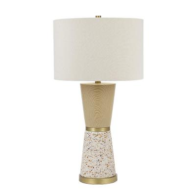 30 in. Metallic Brass and Multi-Color Terrazzo Faux Wood Hourglass Table Lamp and LED Bulb