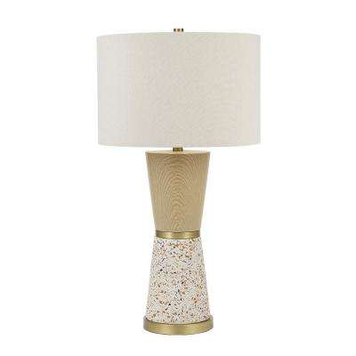 30 In Metallic Brass And Multi Color Terrazzo Faux Wood Hourglass Table Lamp And Led Bulb