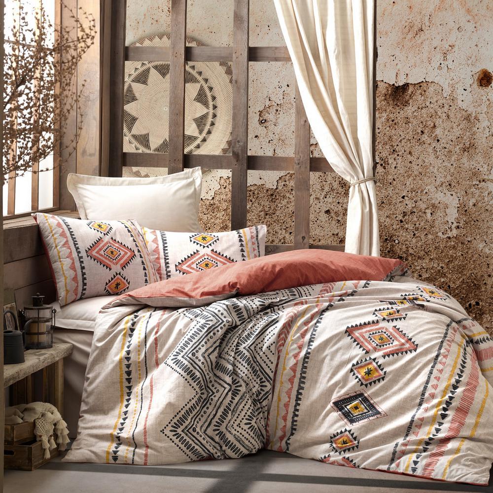 Aztec Orange Duvet Cover Set, Queen Size Duvet Cover, Cotton 1 Duvet Cover, 1 Fitted Sheet and 2 Pillowcases