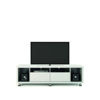 Cabrini 71 in. White Gloss Particle Board TV Stand with 2 Drawer Fits TVs Up to 60 in. with Cable Management