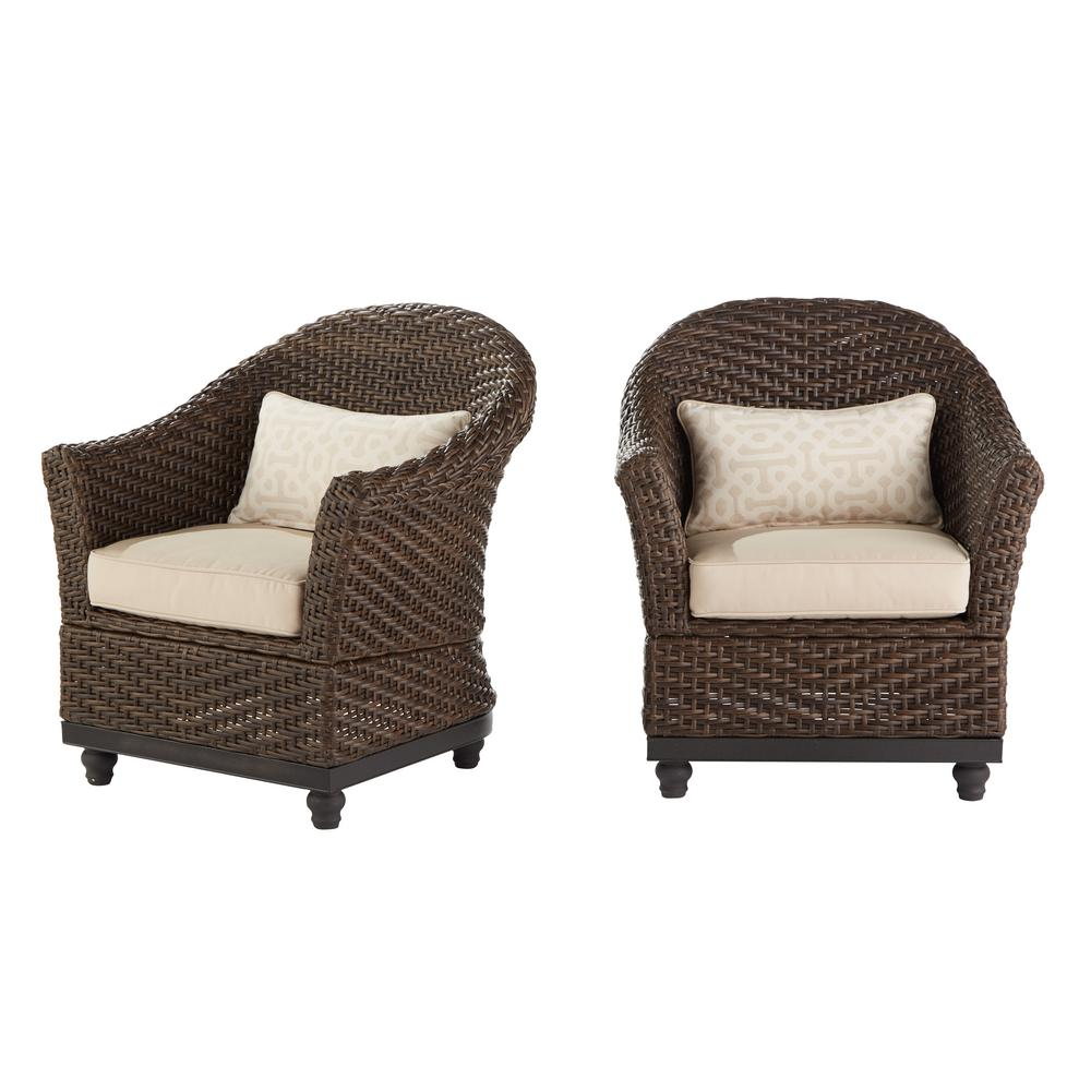 Home Decorators Collection Camden Dark Brown Wicker Outdoor Porch Chat Lounge Chair With Sunbrella Fretwork Flax