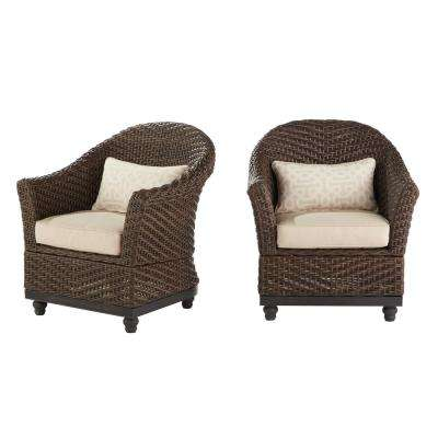 Camden Dark Brown Wicker Outdoor Porch Chat Lounge Chair With Sunbrella Fretwork Flax Cushions 2