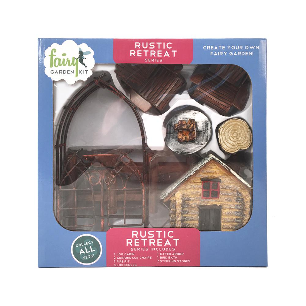 Arcadia Garden Products Rustic Retreat Polyresin Fairy Garden Kit (12-Piece) This Fairy Garden Kit will inspire your creativity. You can easily design a miniature garden scene and step into a world of fantasy. Fairy Garden Kits make it easy to design unique and delightful gardens. Imagine the possibilities.