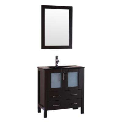 30 in. W Single Bath Vanity with Tempered Glass Vanity Top in Black with Black Basin and Mirror