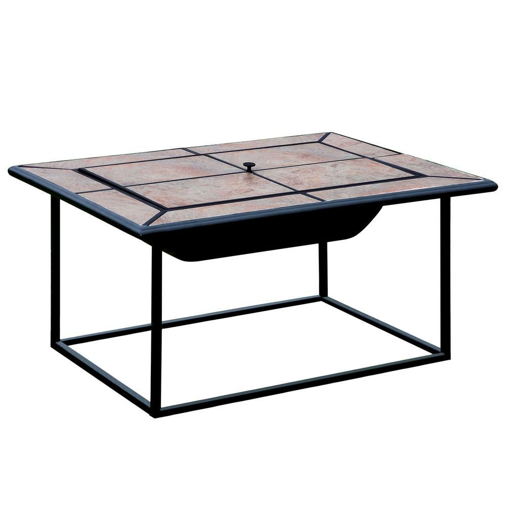 Venetian Worldwide Benawa 31 In X 41 Rectangle Cast Iron Fire Pit With Ceramic Tile Cover