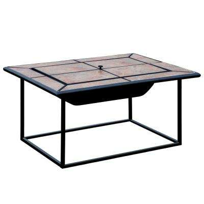 Benawa 31 in. x 41 in. Rectangle Cast Iron Fire Pit with Ceramic Tile Cover