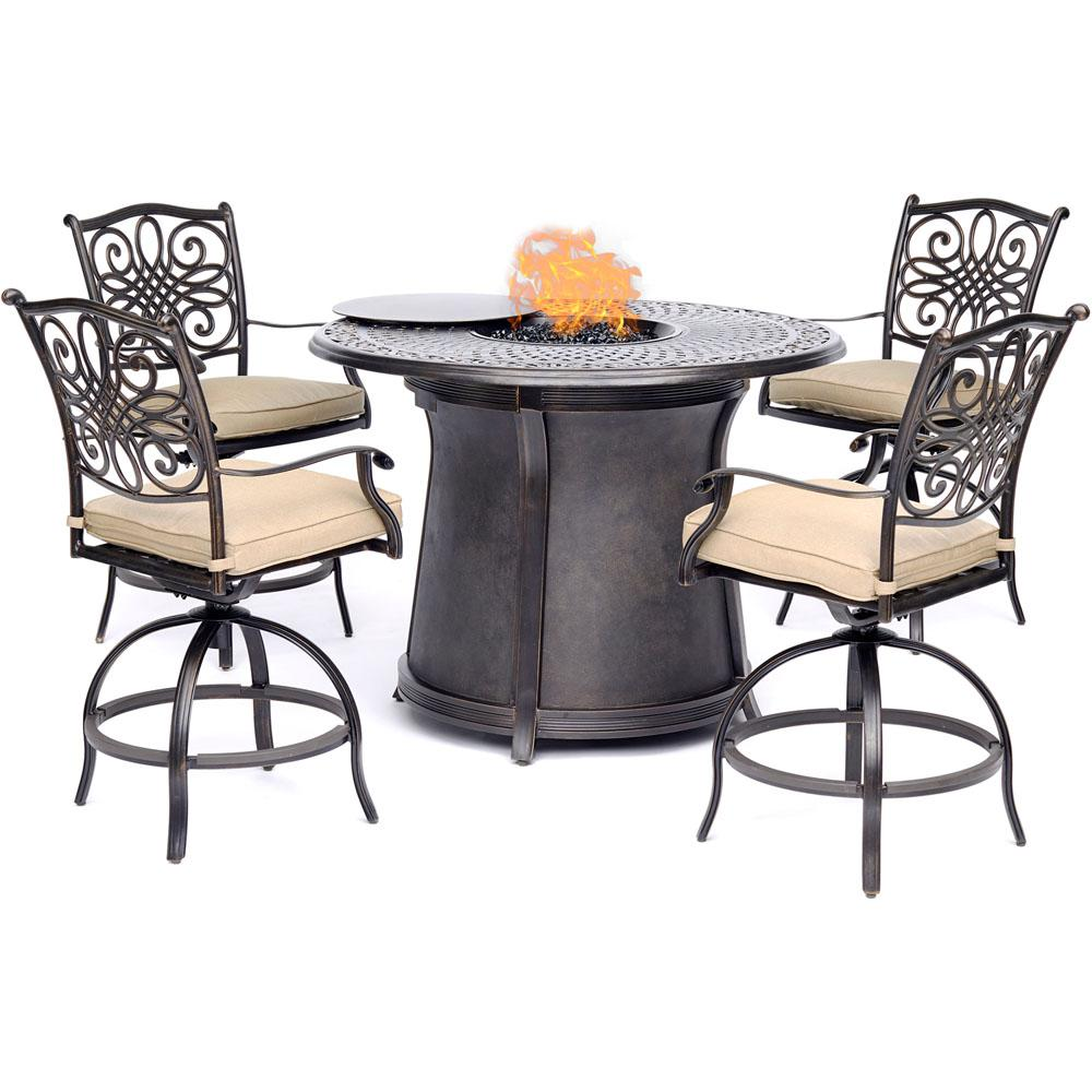 Hanover Traditions 5-Piece Aluminum Bar Height Round ...