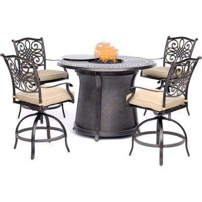 Traditions 5-Piece Aluminum Bar Height Round Outdoor Fire Pit Dining Set with Tan Cushions