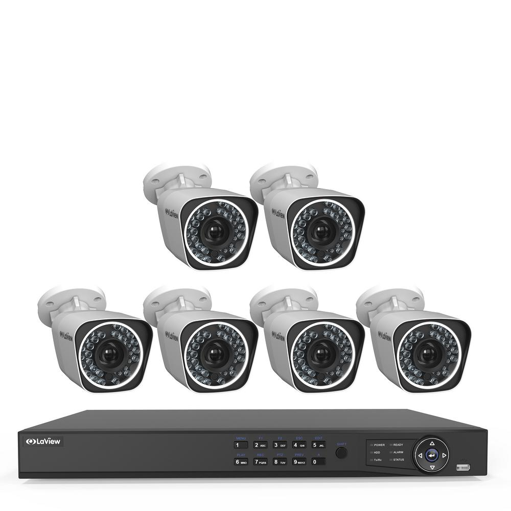LaView 8-Channel Full HD IP Indoor/Outdoor Wi-Fi Surveillance 2TB NVR System (6) Bullet Cameras with Remote View