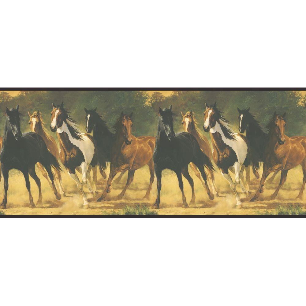 Lake Forest Lodge Horses Wallpaper Border
