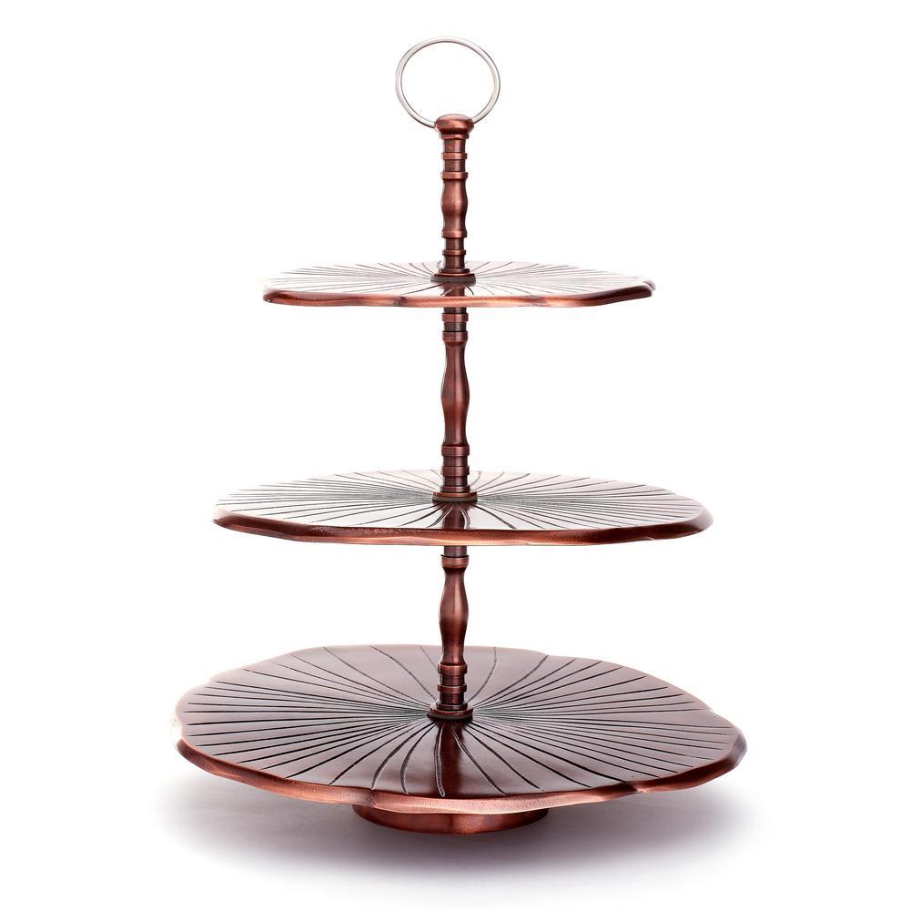 """3-Tier 17 in. H Antique Copper Aluminum """"Lily Pad"""" Dessert Server"""