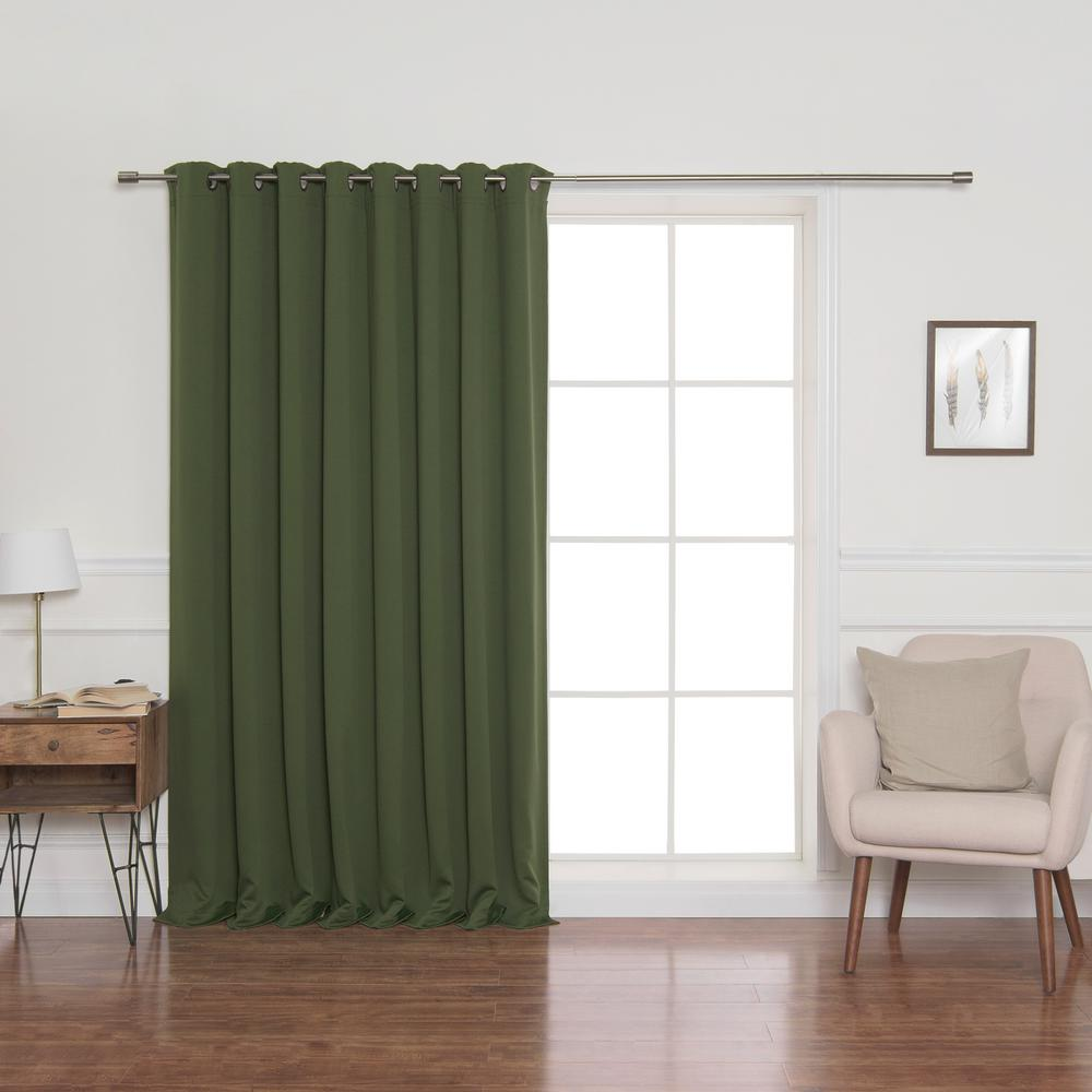 100 in. x 96 in. Flame Retardant Blackout Curtain Panel in Moss