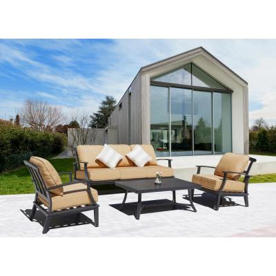 Marcy Dark Grey 4-Piece Aluminum Patio Conversation Set with Yellow Cushions