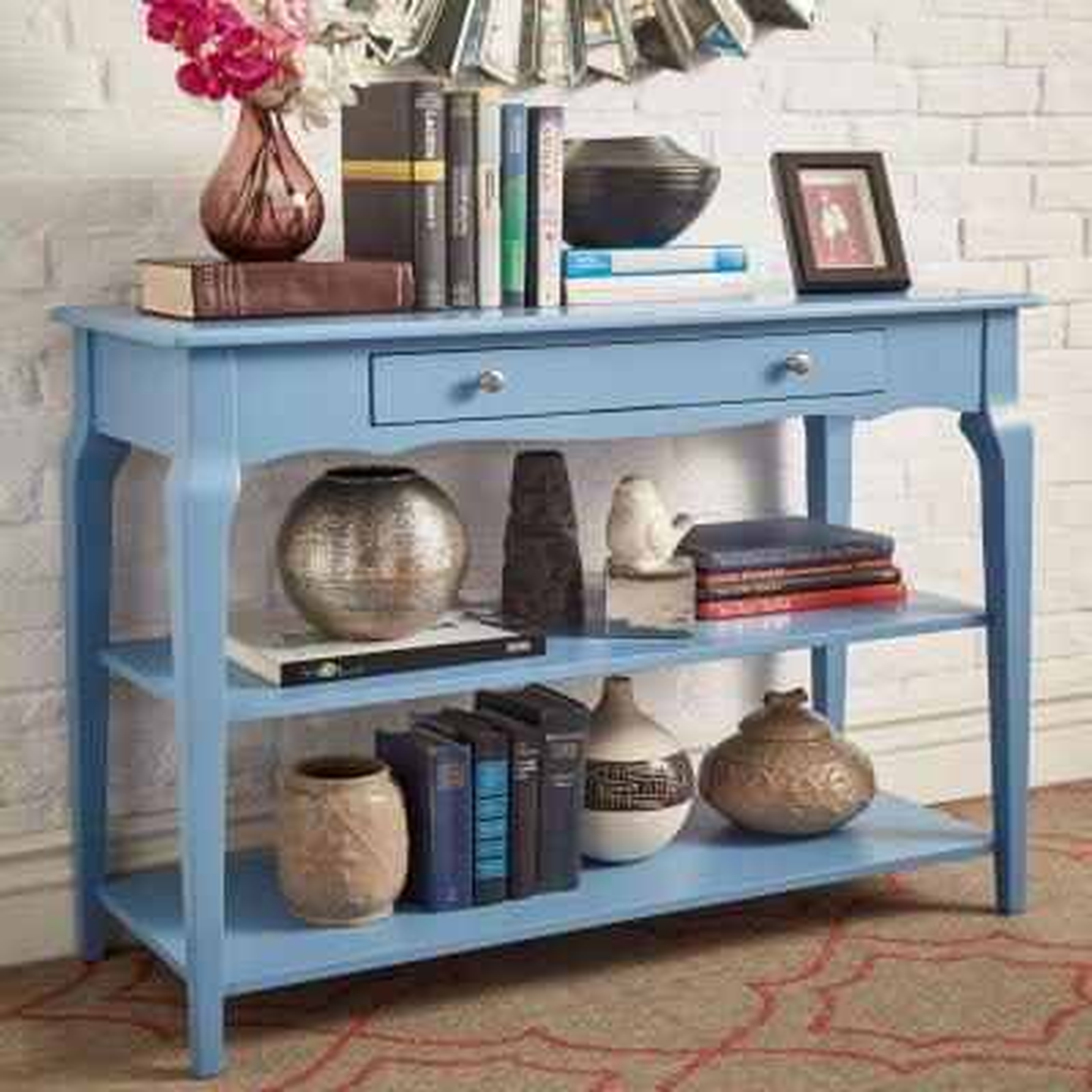 HomeSullivan Heritage Blue Sofa Table Tv Stand 40E713BU-T ...