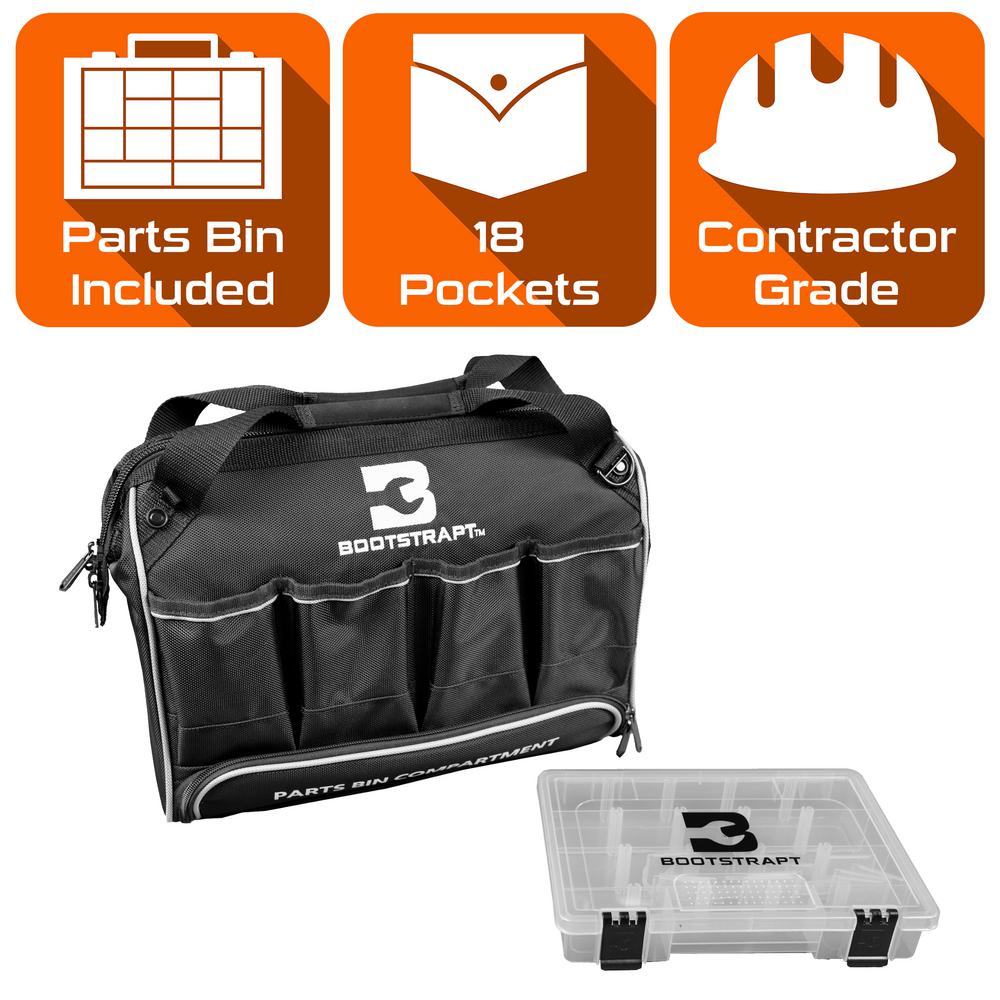 BOOTSTRAPT 15 in. Large Mouth Tool Bag with Integrated Parts Bin Compartment