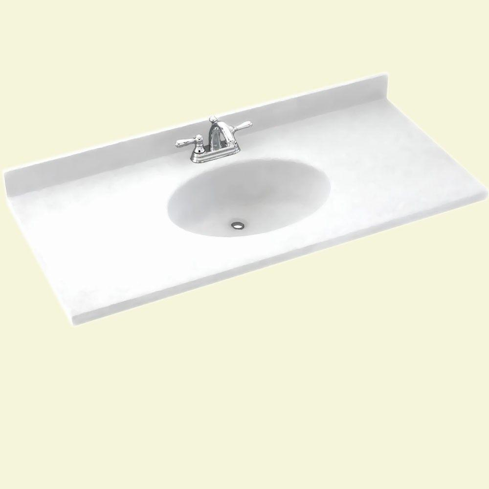Swan Chesapeake 43 In W X 22 5 In D Solid Surface Vanity Top With Sink In White Ch1b2243 010