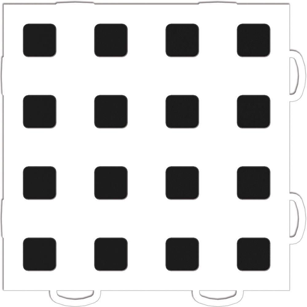 WeatherTech TechFloor 6 in. x 6 in. White/Black Vinyl Flooring Tiles (Quantity of 10)