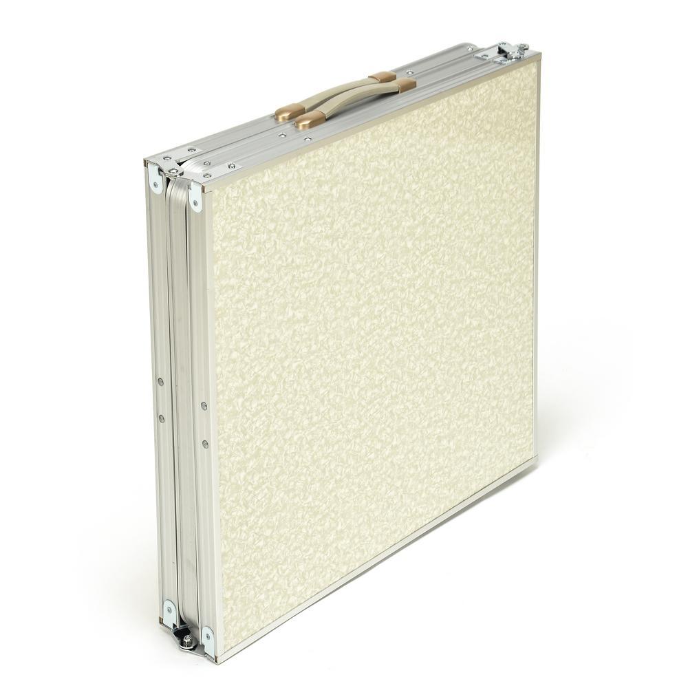 Trademark Innovations White Portable Lightweight Aluminum Folding Table