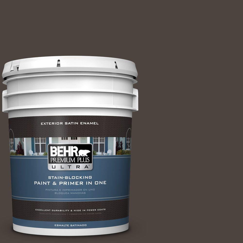 BEHR Premium Plus Ultra 5-gal. #PPU5-1 Espresso Beans Satin Enamel Exterior Paint
