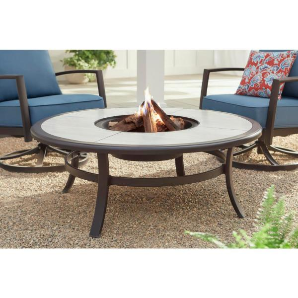 Hampton Bay Whitfield 48 In Round Galvanized Steel Wood Burning Fire Pit Table In Dark Brown With Stone Look Tile Top 3022 Cm4 Fp The Home Depot