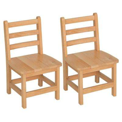 Atlas Natural Wood Classroom Chair with 12 in. Seat Height (Set of 2)