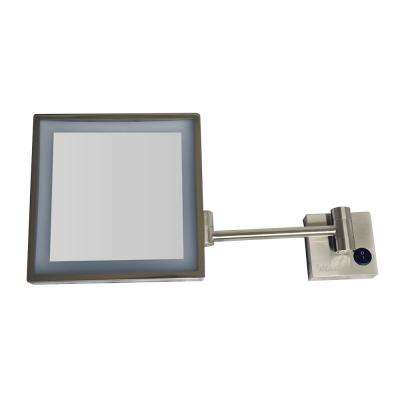9-7/8 in. x 11-3/4 in. Square Framed LED Lighted Wall Mounted Mirror in Brushed Nickel with 5X Magnification