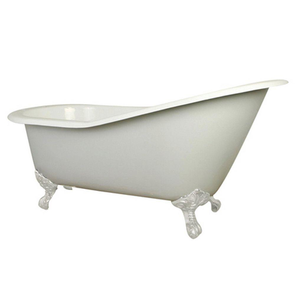 Aqua Eden 5 ft. Cast Iron White Claw Foot Slipper Tub with 7 in ...