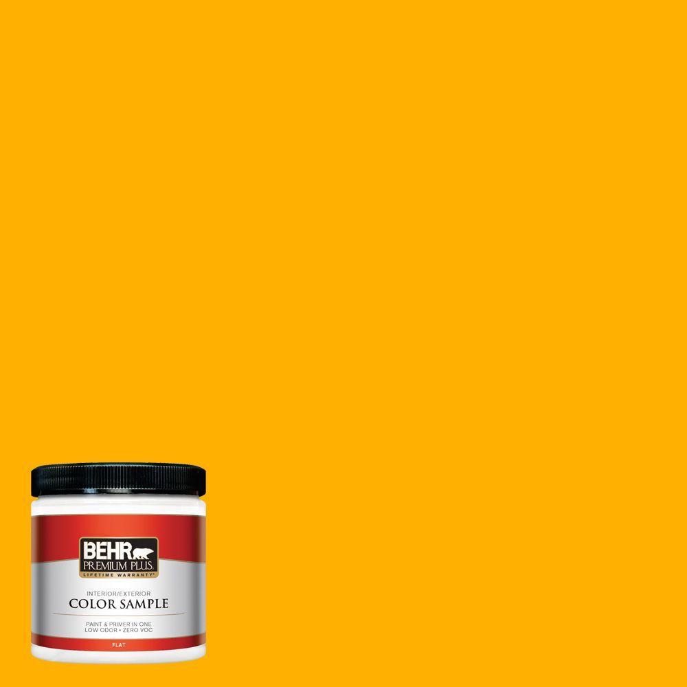 BEHR Premium Plus 8 oz. #310B-7 Saffron Thread Interior/Exterior Paint Sample