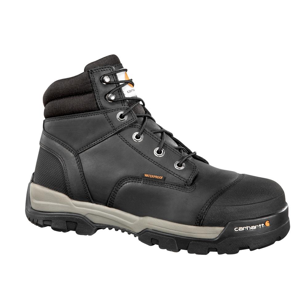c7b4cda644 Ground Force Men's 12W Black Leather Waterproof Composite Safety Toe 6 in.  Lace-up Work Boot